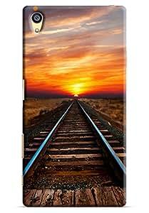 Omnam Rail Track Following Sun Printed Designer Back Cover Case For Sony Xperia Z5 Premium