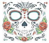 Day of the Dead Sugar Skull Unisex Full Face Temporary Tattoo with BeWild Balloon
