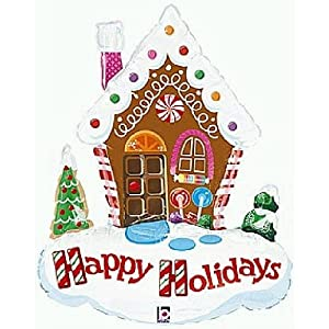 "Amazon.com: Gingerbread House Mylar Balloon 18"" Christmas Holiday"