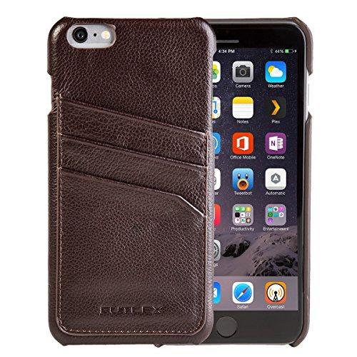 """iPhone 6 Plus / 6S Plus (5.5"""") Custodia, FUTLEX Custodia realizzato in vera pelle - Caffè - con fessure per carte - Ultra sottile - Design e taglio preciso - realizzato a mano"""