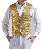 (pkpohs) スパンコール ベスト ジレ ステージ衣装 パーティー 余興 舞台 衣装 ゴールド シルバー メンズ 男性用 (XL, ゴールド)