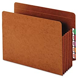 Globe-Weis End Tab File Pockets, 5.25-Inch Expansion, Heavy Duty, Tyvek Gussets, Letter Size, Brown, 10 Pockets per Pack (63790)