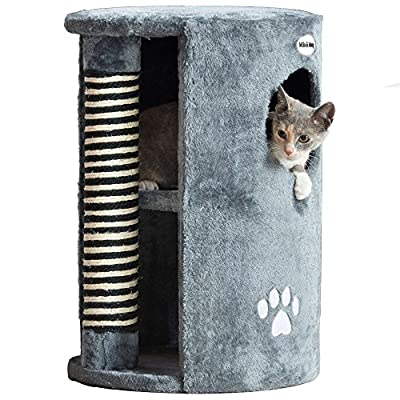 Milo & Misty Cat Scratching Post Tree Activity Centre - 58 x 41 cm - Grey