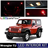 LEDpartsNow 2000-2006 Jeep Wrangler TJ LED Interior Lights Accessories Replacement Package Kit (8 Pieces), RED