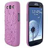 Skque 3D Rose Flower Carving Cover Case for Samsung Galaxy S3 I9300, Pink