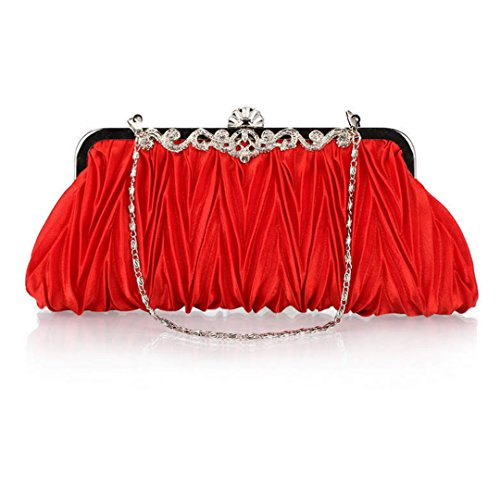 AiSi® Womens Satin Pleated Envelope Evening Clutch Party Handbag-11 Colors