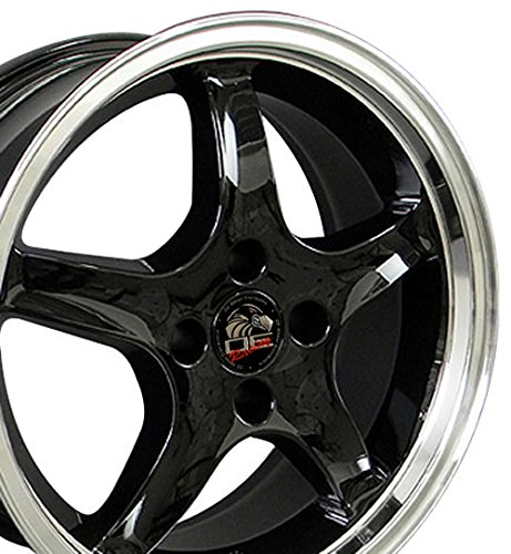 17x8 Fits Ford Mustang 4 Lug Cobra R Style Deep Dish Black w/Mach'd Lip - Set of 4 (1993 Ford Mustang Cobra compare prices)