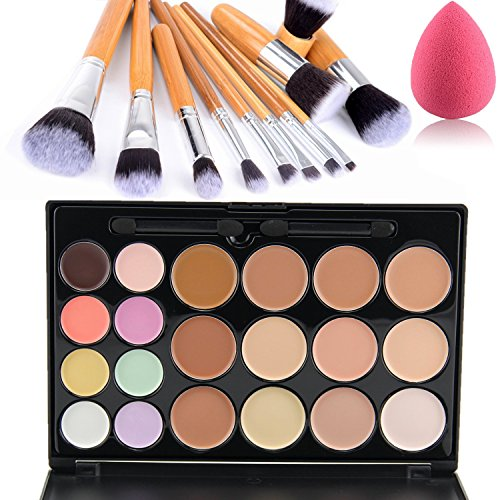 Lover Bar 20 Colour Makeup Cream Contour Kit-Camouflage Pro Concealer Palette-Professional Face Corrector-Cosmetics Foundation Contouring and Highlighter+Vegan 11pcs Make Up Brushes Set Beauty Blender by Lover Bar