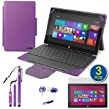 BIRUGEAR Purple 2-in-1 Leather Keyboard Portfolio Stand Case plus Stylus, Headset, Screen Protectors for Microsoft Surface RT / Surface Pro 10.6 inch Windows Tablet