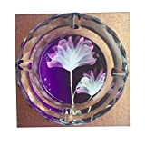 Purple Flower Crystal Cigarette Ashtray , Home Office Tabletop Beautiful Decoration Craft (medium)
