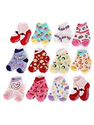 Dimore Cotton Non-skid Baby Socks-have Anti-skid Particles Baby Socks Gift Set-12-pack Bright Colored Socks-newborn Footie(2 Style) (strawberry)