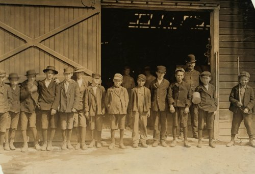 1908 child labor photo Boys going home from Glass Works, Monongah Glass Works, Fairmont, W. Va. Loca