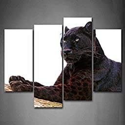 Canval prit painting Black Panther Lie On Dry Wood The Picture Print On Canvas Animal Pictures