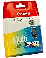 Canon CLI-526 Cartouche d'encre d'origine Pack de 3 Cyan, Magenta, Jaune