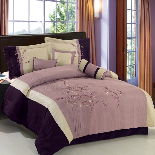 Santa Fe Purple/Ivory/Black King Size Luxury 7-Piece Comforter Set Including Comforter, Skirt, Throw Pillows And Pillow Shams By Royal Hotel front-104507