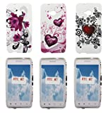 Kit Me Out UK TPU Gel Case Pack for HTC One M7 - Purple Bloom & Purple Hearts & Tattoo Heart