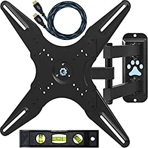 "Cheetah Mounts ALAMLB Articulating Arm (20"" Extension) TV Wall Mount Bracket for 23-55 inch LCD, LED and Plasma Flat Screen TVs up to VESA 400x400 and 66lbs, with full Ballhead Tilt, Swivel, and Rotation Motion, Including a Twisted Veins 10' Braided High Speed with Ethernet HDMI Cable and a 6"" 3-Axis Magnetic Bubble Level"