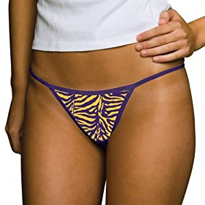 NCAA LSU Tigers Ladies Purple Tiger Thong (X-Small)