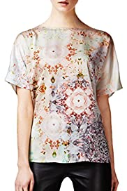 Slash Neck Kaleidoscope Print Top [T50-9060-S]