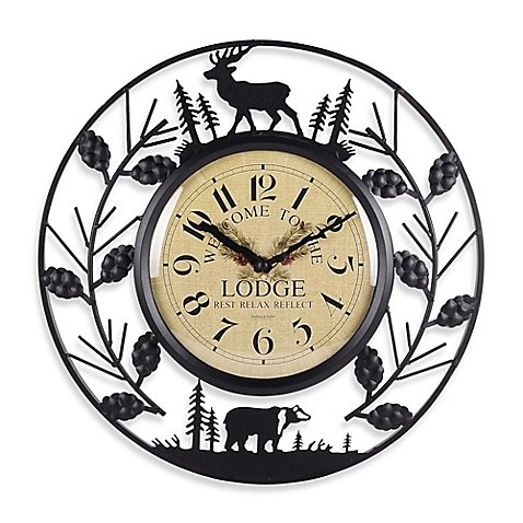Sterling & Noble 15.5-Inch Wrought Iron Lodge Wall Clock (Big Wrought Iron Clock compare prices)