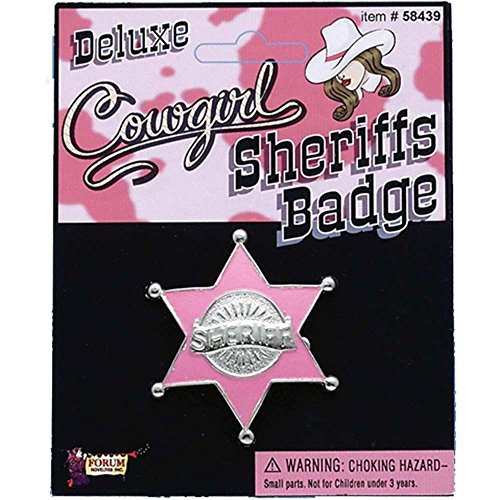Cowgirl Pink Sheriff Badge - One Size
