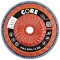 "CoreTemp 77420 Type 29 Regular Density Abrasive Flap Disc with Plastic Turbo Backing, Threaded Hub, Zirconium, 4-1/2"" Diameter, 5/8""-11 Arbor, 120 Grit  (Pack of 5)"