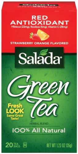 Salada Green Antioxidant Red (Strawberry Orange Flavor) 20 Ct (Case Of 6 Boxes)