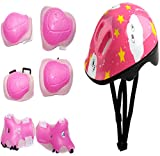 Eforstore Skateboard 7pcs Skate Knee Elbow Head Protector for Chilren Kids Toddlers Sports Protective Pads Cycling Skate Sports Helmet and Pads Set