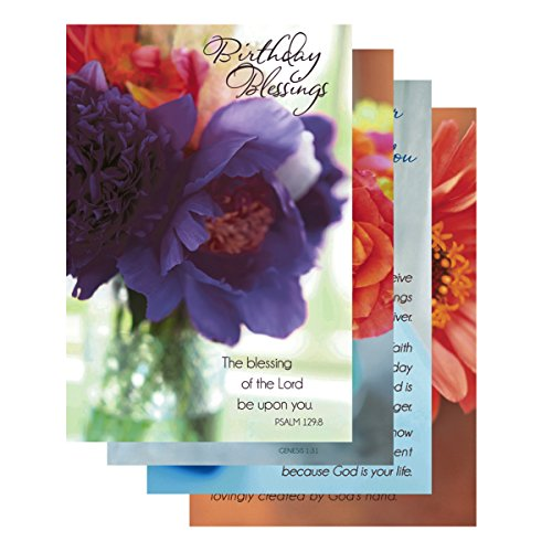 DaySpring Birthday Boxed Greeting Cards, 12 Count with Embossed Envelopes, Flowers of Joy (37110)