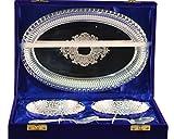 JK-578-0644 Elegant 5 Pcs Silver Plated Brass Bowl Set, Designer Silver Plated Bowl Set with Box, Silver Plated Tray/Bowl & Spoon (TRAY-9.5