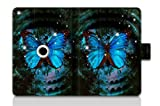 For Apple iPad Mini /Mini 2 / Mini Retina Folio Case Magnetic PU Leather Cover With Multi Smart Stand - Blue Butterfly&Bell am-19060