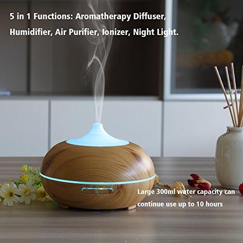 Aromatherapy Essential Oil Diffuser Urpower 300ml Wood Grain Ultrasonic Cool Mist Whisper Quiet
