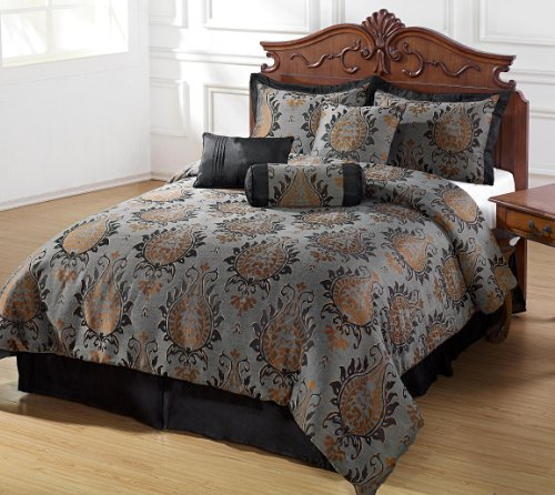 Chezmoi Collection 7 Pieces Charcoal Black And Brown Jacquard Floral Comforter Set Bed-In-A-Bag King Size front-67380