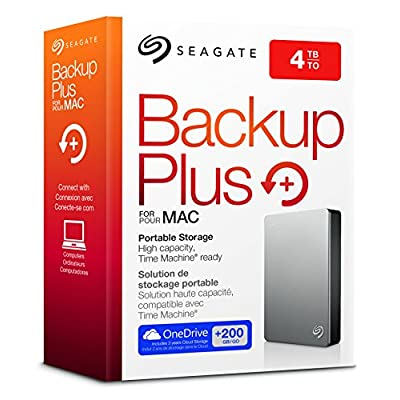 Seagate Backup Plus 4 TB Portable External Hard Drive for Mac with Mobile Device Backup USB 3.0 (STDS4000400)