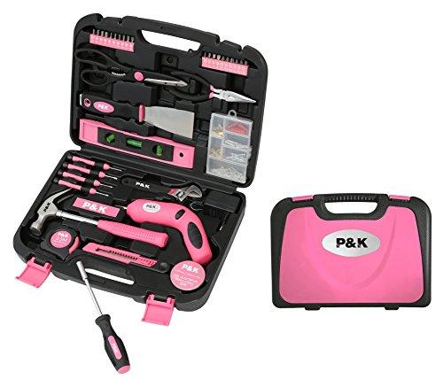 135-Teilig-Werkzeugset-Werkzeugkoffer-Werkzeugkasten-Pink-Rosa