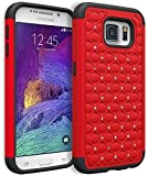 Vogue shop Galaxy S 6 Case, Heavy Duty Hybrid Protective Armor Case - Soft Black Silicone Cover with stylish color Studded Rhinestone Bling Design Hard Case for Samsung Galaxy S 6 (red)