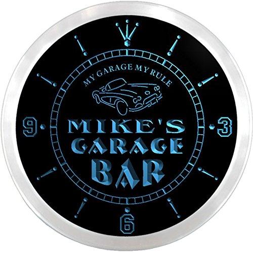 Ncpp0105-B Mike'S Garage Car Repairs Rule Beer Bar Led Neon Sign Wall Clock