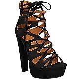 Neu Womens Damen High Heels Plattform Gladiator Sandalen Schnür Stiefel Schuh Größe - Schwarz Kunstwildleder, 36