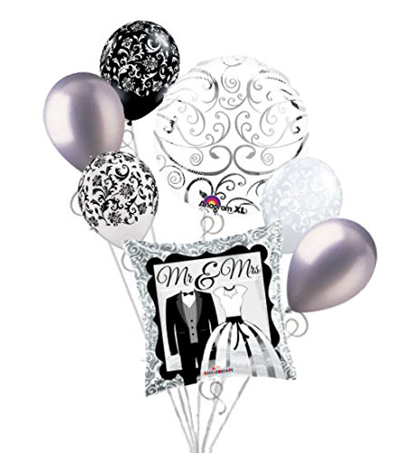 7pc Mr & Mrs Wedding Balloon Bouquet Party Decoration Tuxedo Dress Bridal Shower