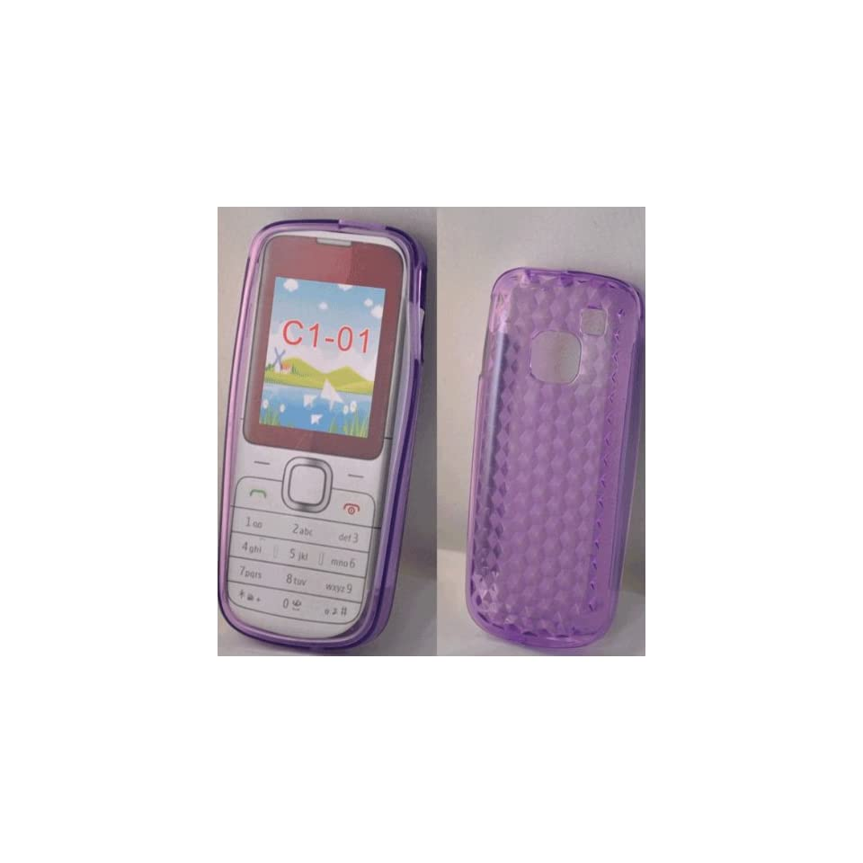 Mobile Palace  Purple Gel case cover pouch holster with screen protector and car charger for Nokia C1 01
