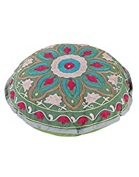 Gorgeous Round Green Ottoman Cotton Floral Embroidered Pouf Cover Decor By Rajrang