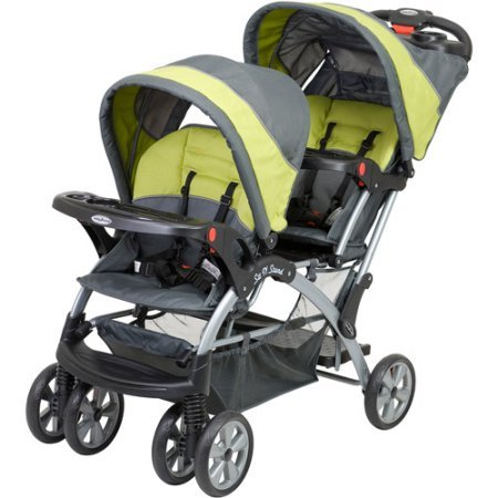 Double Child Stroller With Two Full size Canopies, Green