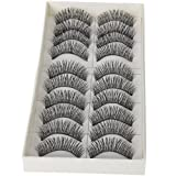 Dimart 10 Pairs Black Long Thick Soft Reusable False Eyelashes Fake Eye Lash for Makeup Cosmetic