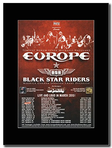 Europa e Black Star Riders - UK Date 2015... Glasgow Sold Out.... Magazine Promo su un nero Mount