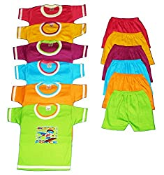 Apt Padhus Baby Boys Cotton Dress (Pack of 6) (PF050_Multicolor_6-12 Months)