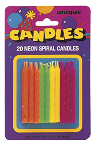 20 Birthday Cake Party Candles Assorted Neon Colors Lime Green, Citrus Orange, Hot Pink, and Yellow - 1