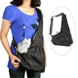 Dexiu Black Pet Dog Puppy Strap Sling Shoulder Bag Carrier (L)