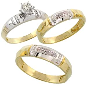 Amazon.com: Gold Plated Sterling Silver Diamond Trio