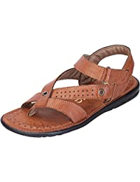 DATZZ Men's Tan Denim Sandals - B018U63XD6