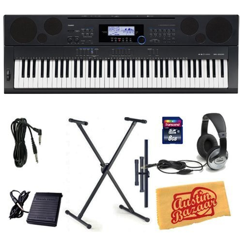 Casio WK-6500 Workstation Keyboard Bundle with Keyboard Stand, 8 GB SD Card, 10-Foot Instrument Cable, Sustain Pedal, Headphones, and Polishing Cloth